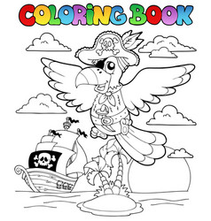 Coloring book with pirate theme 2 vector
