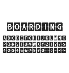 Creative font in airport board style airline vector