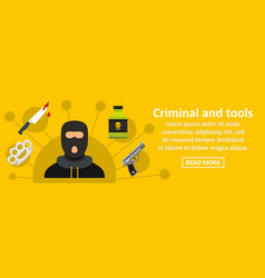 criminal and tools banner horizontal concept vector image