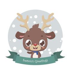 Cute little reindeer with banner vector