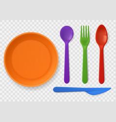 Disposable plastic tableware realistic colorful vector