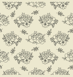 doodle floral peony bouquet pattern in hand drawn vector image