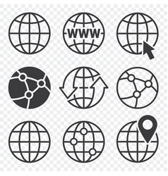 Earth globe icon set vector