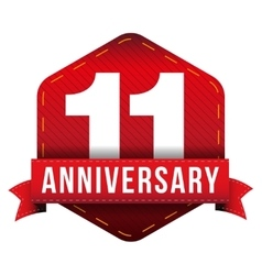 Eleven year anniversary badge with red ribbon vector