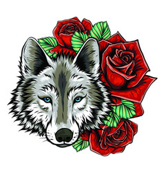 Embroidery wolf and roses needlework patch vector