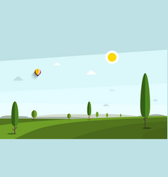 empty morning or evening landscape with trees vector image