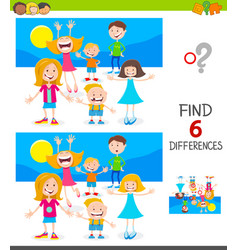 Finding differences game with cute children vector