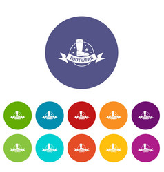footwear icons set color vector image