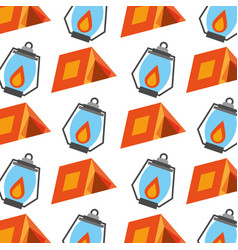Forest camping tent and lamp seamless pattern vector