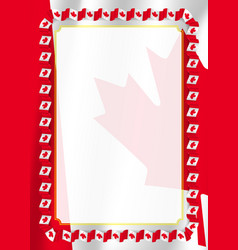 Frame and border of ribbon with canada flag vector
