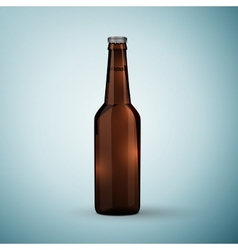 Glass beer brown bottle icon isolated on blue vector