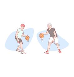 guys play basketball set concept vector image