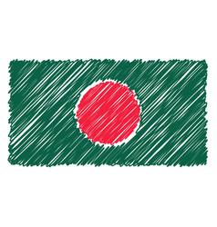 Hand drawn national flag of bangladesh isolated on vector