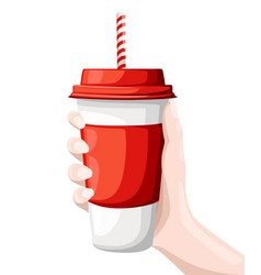Hand holding drink in a red and white paper cup vector