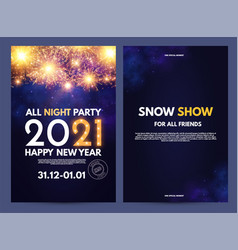 happy new 2021 year flyer design template set vector image