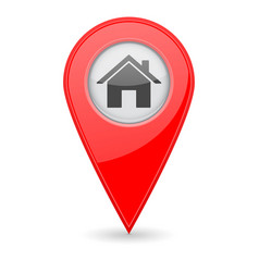Home location marker red 3d icon vector