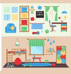 Horizontal view cozy baby room decor vector