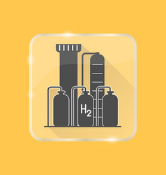 Hydrogen plant silhouette icon in flat style on vector