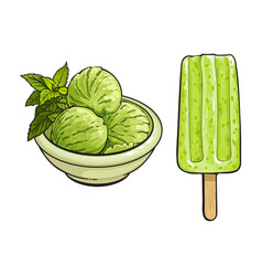 Ice cream and popsicle with matcha green tea vector