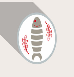 Icon flat tasty fish dinner flat cartoon design vector