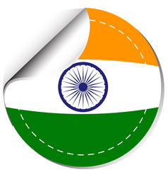 India flag design on round sticker vector