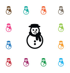 isolated winter icon snowman element can vector image