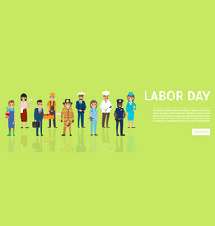 labor day flat web banner with professions vector image