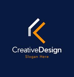 letter k outline creative business logo vector image