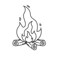 line cute firewood to keep warm vector image