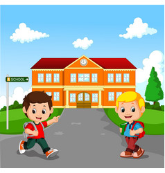 Little boy going to school vector