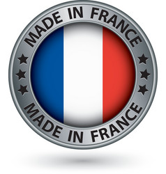 Made in France silver label with flag vector