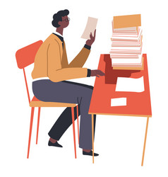 Man reading papers and documents on desk vector