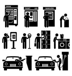 Man using auto public machine icon symbol sign vector