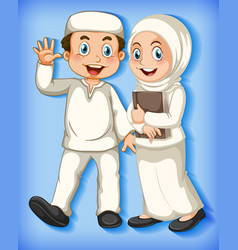 muslim family member on cartoon character colour vector image
