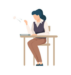 Naughty girl sitting at school desk and throwing vector