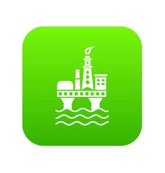 oil platform icon green vector image