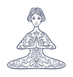 ornamental woman in a yoga pose vector image