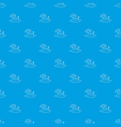 pirate island pattern seamless blue vector image