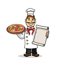 Pizzeria icon Chef wih Menu card and pizza vector image