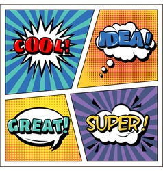 Pop Art Banner Comics Style Expressions Set Bubble vector image vector image
