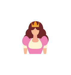 queen with crown antique medieval flat design vector image