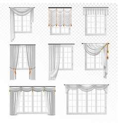 realistic curtain windows set vector image