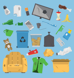 recycling garbage trash elements trash bags vector image
