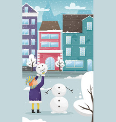 red-haired child in winter clothes sculpts a vector image