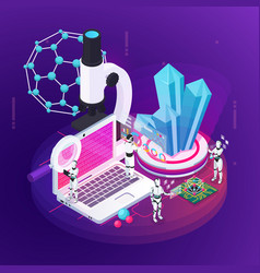 Robot science isometric composition vector