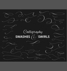 Set custom decorative swashes and swirls white vector