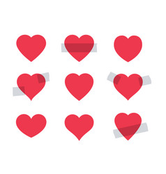 set of red heart shape vector image