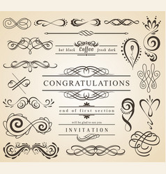 set of vintage decorations elementsflourishes vector image