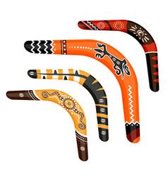 Set painted traditional australian boomerang vector