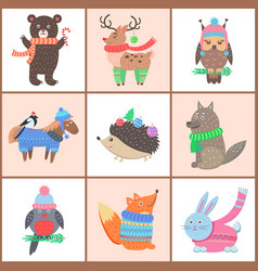 set posters cute animals vector image